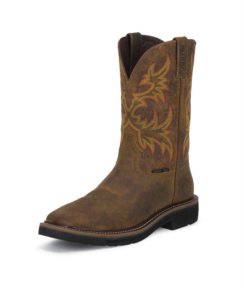 Justin Work Driller Tan Steel Toe Workboot