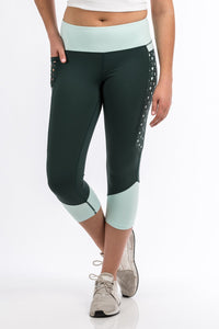 Cinch Women's Olive and Light Blue Color Blocked Legging