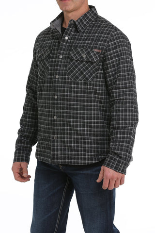 Cinch Plaid Jersey Lined Shirt Jacket - Heather Black