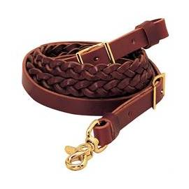 Latigo Leather 3-Plait Roper Rein, 5/8 x 8""