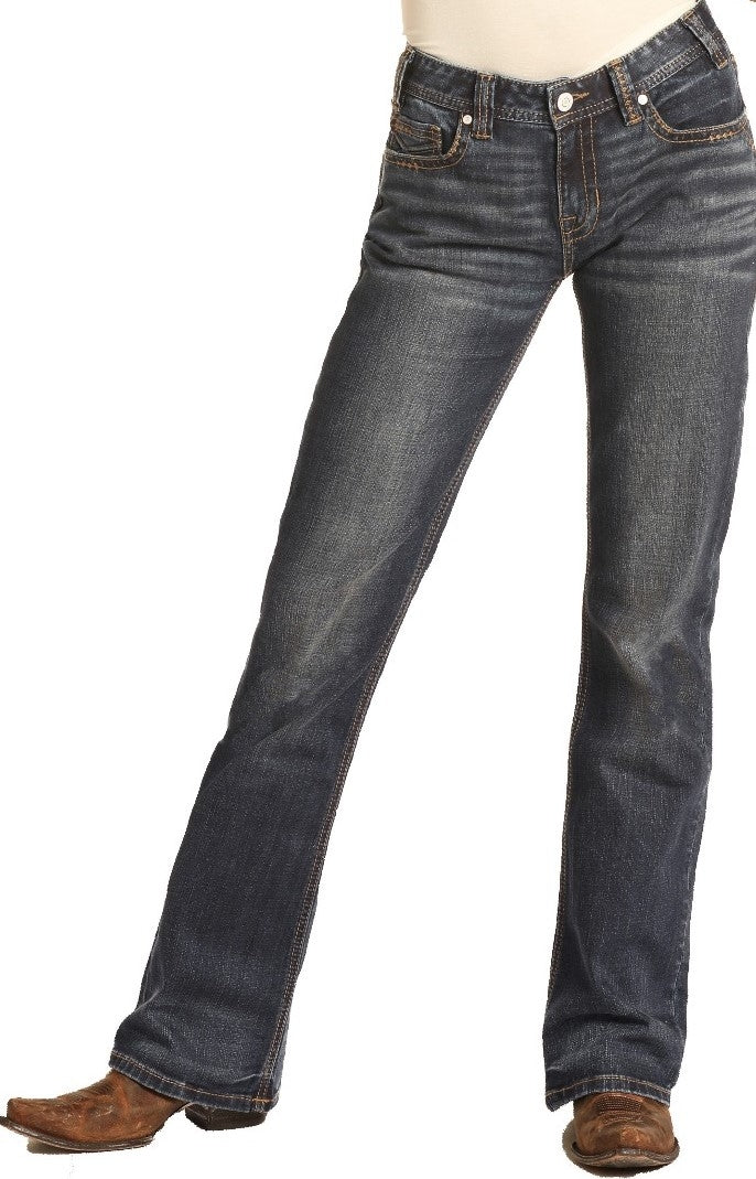 Rock and Roll Cowgirl Mid Rise Bootcut Dark Wash Jeans