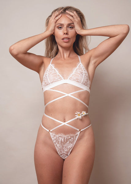 Lace Me Up Criss Cross Thong – White