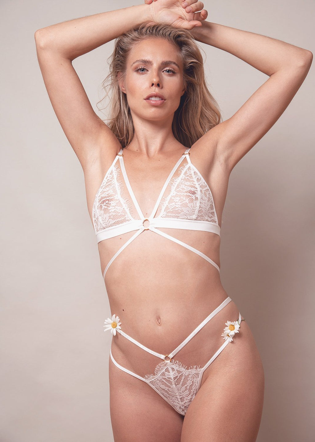 Lace Me Up Strappy Thong – White