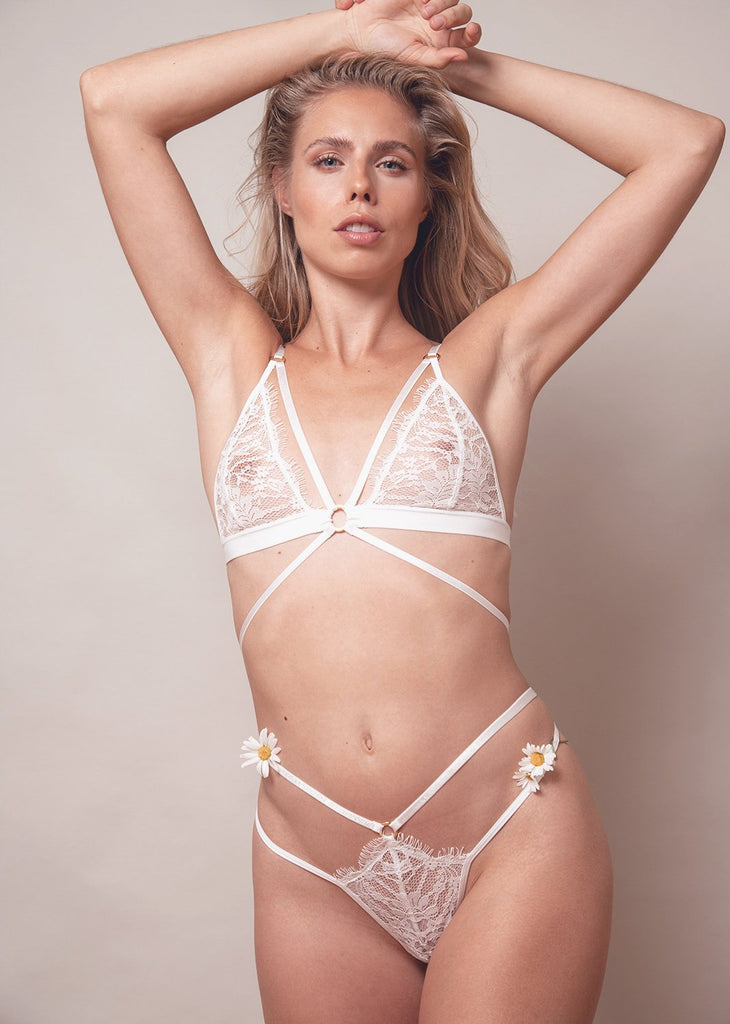 Lace Me Up Strappy Bra – White