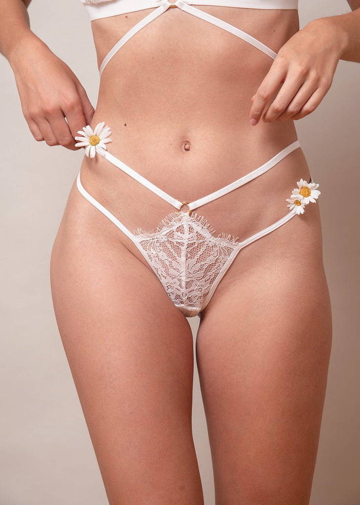 Lace Me Up Strappy Tanga aus weisser Spitze mit Goldring