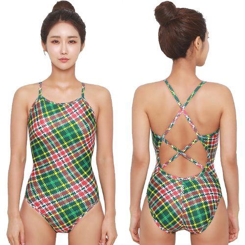Plaid Double Xback Swimsuit