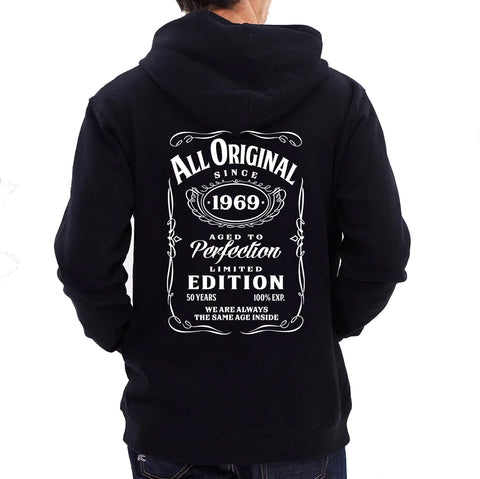 "Personalised Jack Daniels Birthday Hoodie - ""All Original Since 19xx"""