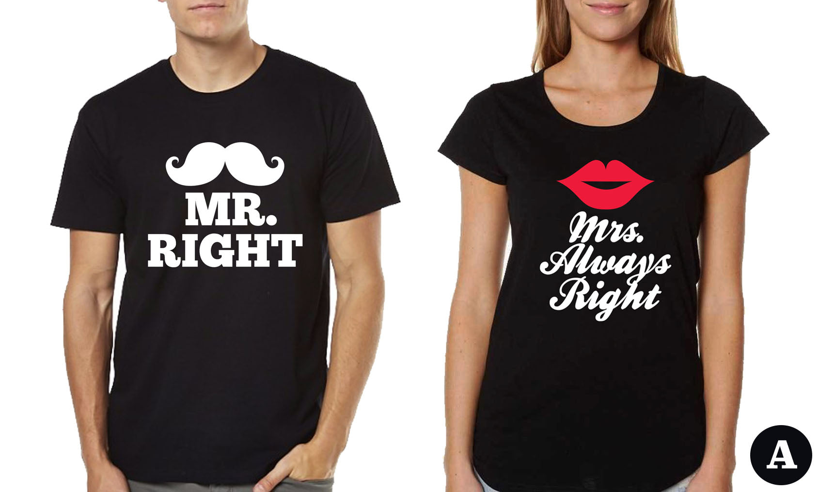 Couple T-shirts - Mr. Right & Mrs. always Right