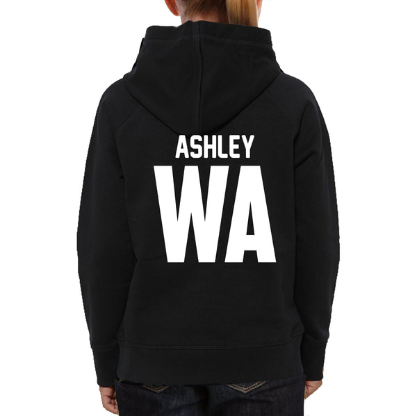 Personalised Netball Hoodie with custom name and position