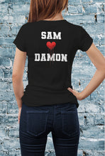 Load image into Gallery viewer, Comic Con Liverpool Personalised I Heart Damon The Vampire Diaries Logo T-Shirt - Ladies