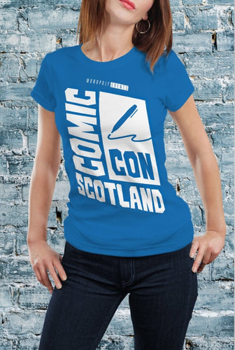 Comic Con Scotland Logo T-Shirt With Back Print - Ladies