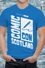 Load image into Gallery viewer, Blue Comic Con Scotland Logo Unisex Tee