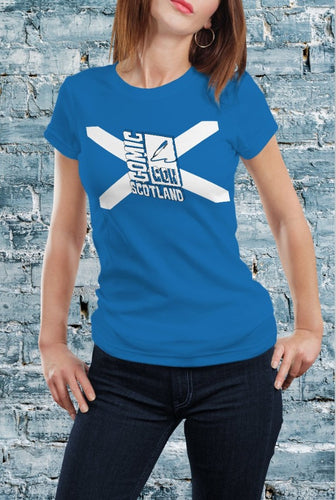 Comic Con Scotland Flag Logo T-Shirt With Back Print - Ladies
