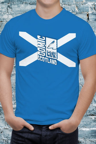 Comic Con Scotland Flag Logo T-Shirt With Back Print - Mens