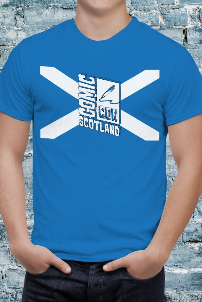 Blue Comic Con Scotland Flag Unisex Tee