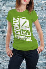 Load image into Gallery viewer, Comic Con Liverpool Logo T-Shirt With Back Print - Ladies