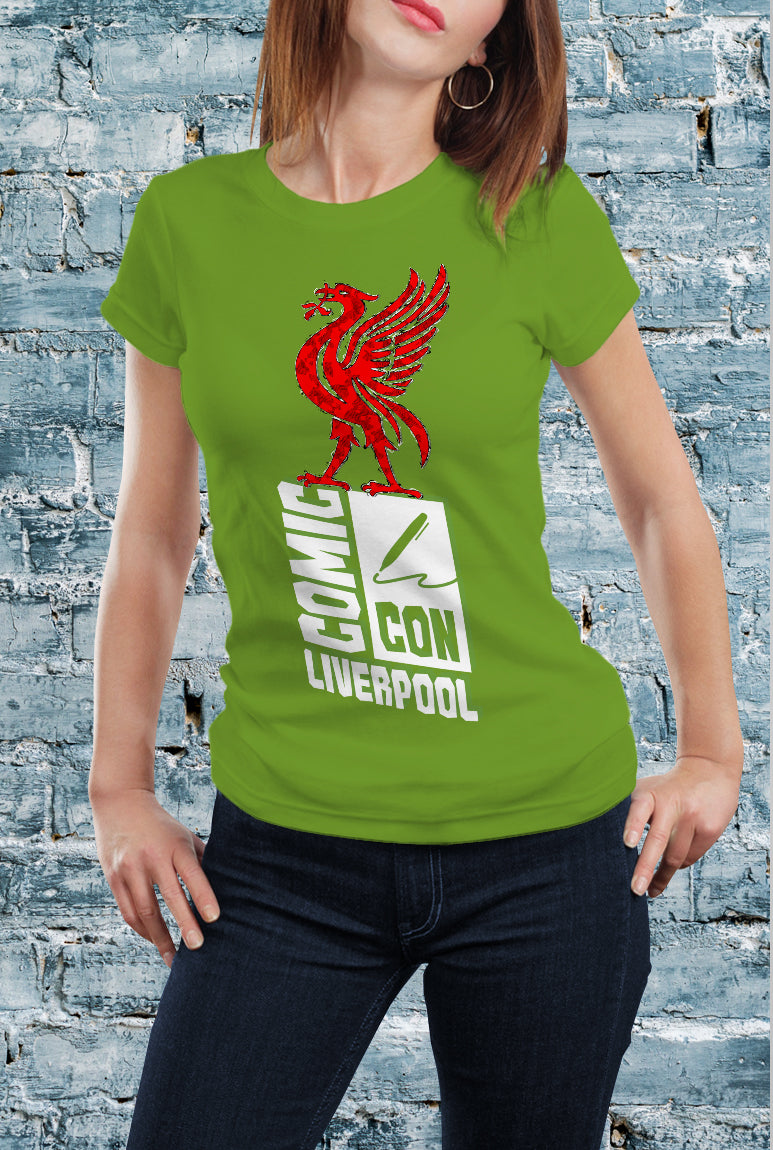 Comic Con Liverpool Liver Bird Logo T-Shirt With Back Print - Ladies