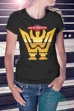 Load image into Gallery viewer, For The Love Of Wrestling Gold Logo T-Shirt With Back Print - Ladies