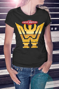 For The Love Of Wrestling Gold Logo T-Shirt With Back Print - Ladies