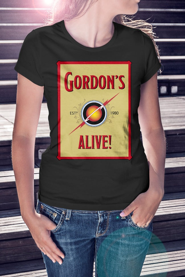 For The Love Of Sci-Fi Gordon's Alive Flash Gordon Logo T-Shirt With Back Print - Ladies