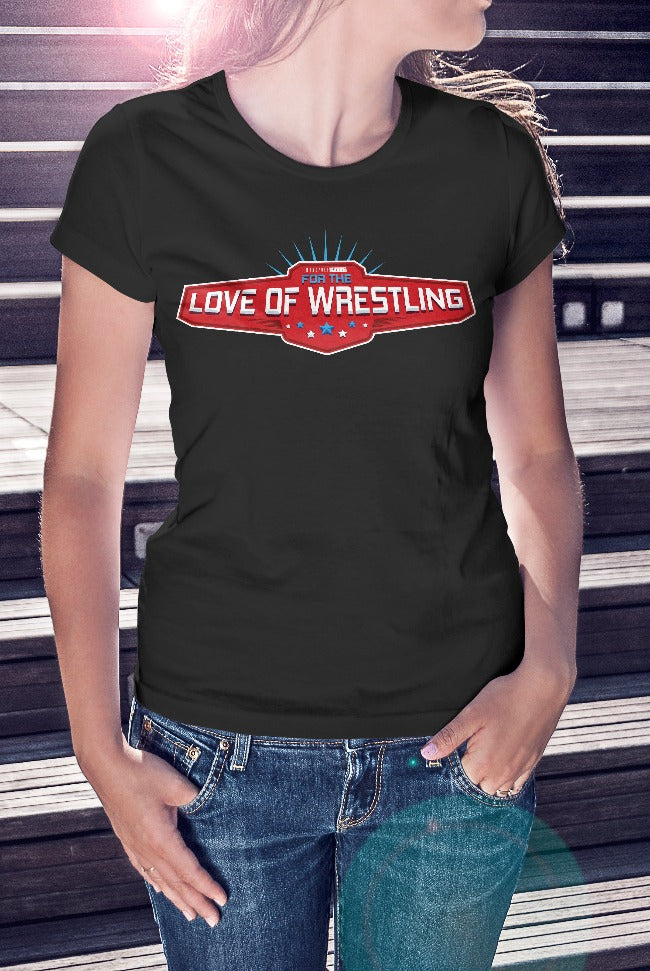 For The Love Of Wrestling Logo T-Shirt With Back Print - Ladies