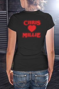 For The Love Of Sci-Fi Personalised I Heart Millie Stranger Things Logo T-Shirt - Ladies
