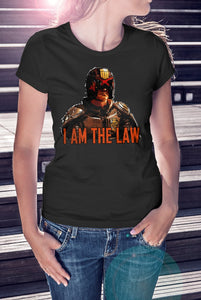For The Love Of Sci-Fi Dredd I Am The Law T-Shirt With Back Print - Ladies