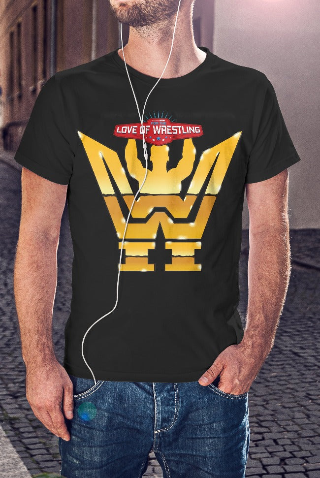 For The Love Of Wrestling Gold Logo T-Shirt With Back Print - Mens