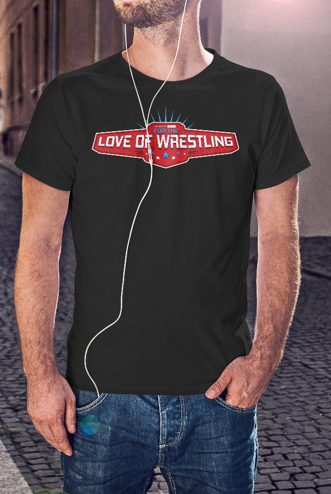 For The Love Of Wrestling Logo T-Shirt With Back Print - Mens