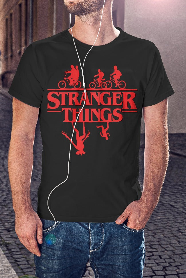 For The Love Of Sci-Fi Stranger Things Upside-Down T-Shirt With Back Print - Mens