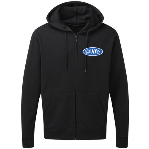 Life Embroidered logo Zip Up Black Unisex Hoodie