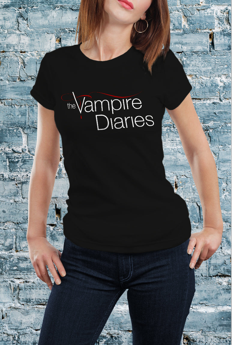 Comic Con Liverpool Personalised I Heart Damon The Vampire Diaries Logo T-Shirt - Ladies