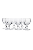 Ballon stem water glass set of 6, handmade in France by La Rochere glass blowers