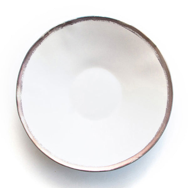 Reflets d'Argent shallow bowl, white, by Jars Ceramistes. Ceramic dinnerware handcrafted in France. Dishwasher safe.