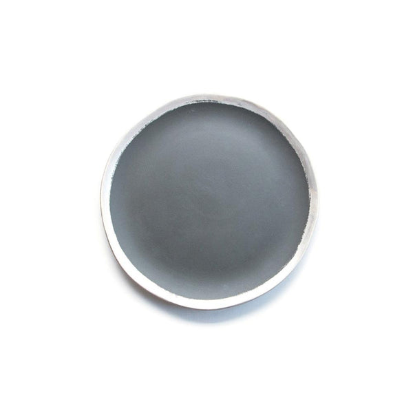 Reflets d'Argent salad or desert plate, anthracite, by Jars Ceramistes. Ceramic dinnerware handcrafted in France. Dishwasher safe.