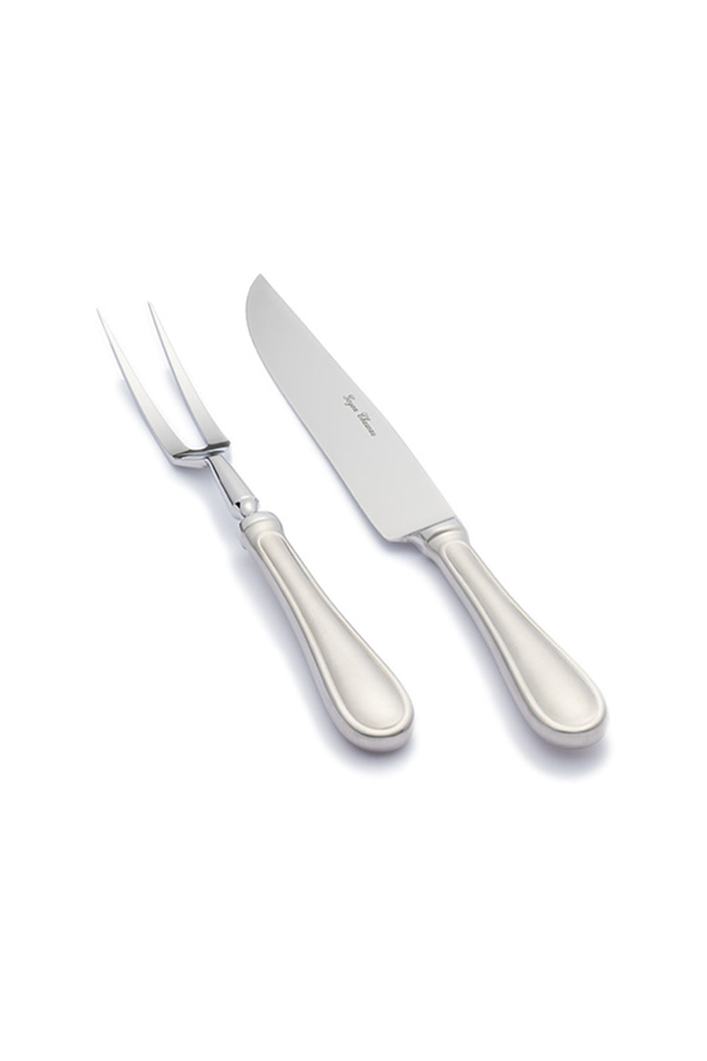 Meat carving knife and fork set, stainless steel, 100% handcrafted in France