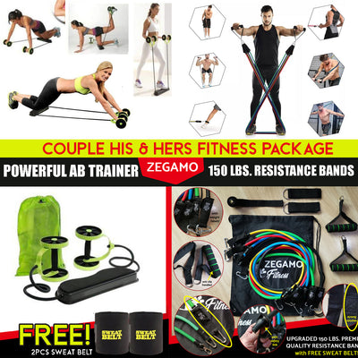 Couple Fitness Package (Ab Trainer+150 Lbs Resistance Bands Set)