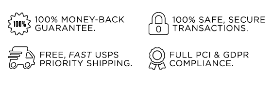 Secure shopping, free shipping, full compliance, 100% money-back guarantee.