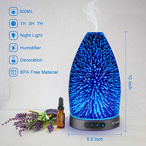 Sztrokia Essential Oil Diffuser,3D Glass Aromatherapy Diffuser