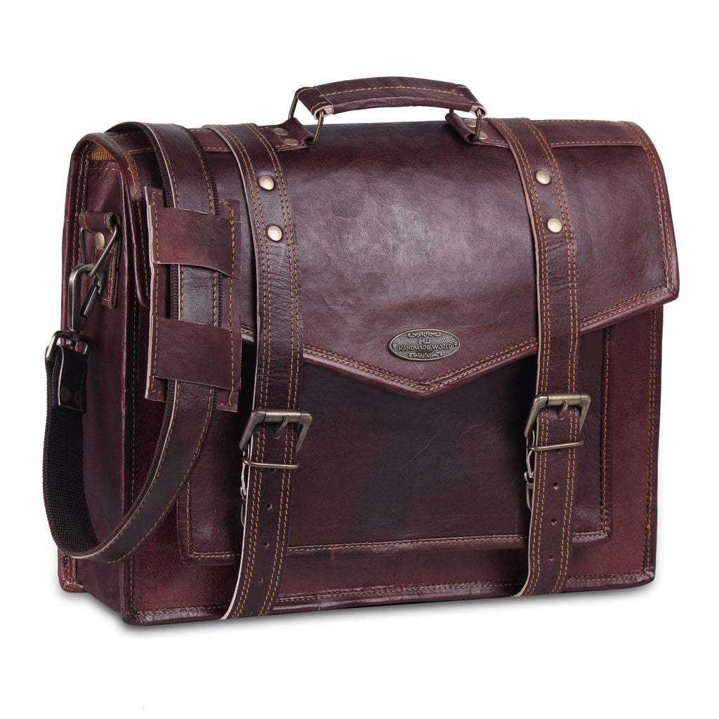 Genuine leather Messenger Bag with V flap and Top Handle