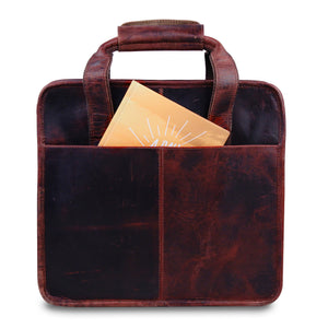 14 inch large square shaped leather briefcase Bag with top handle