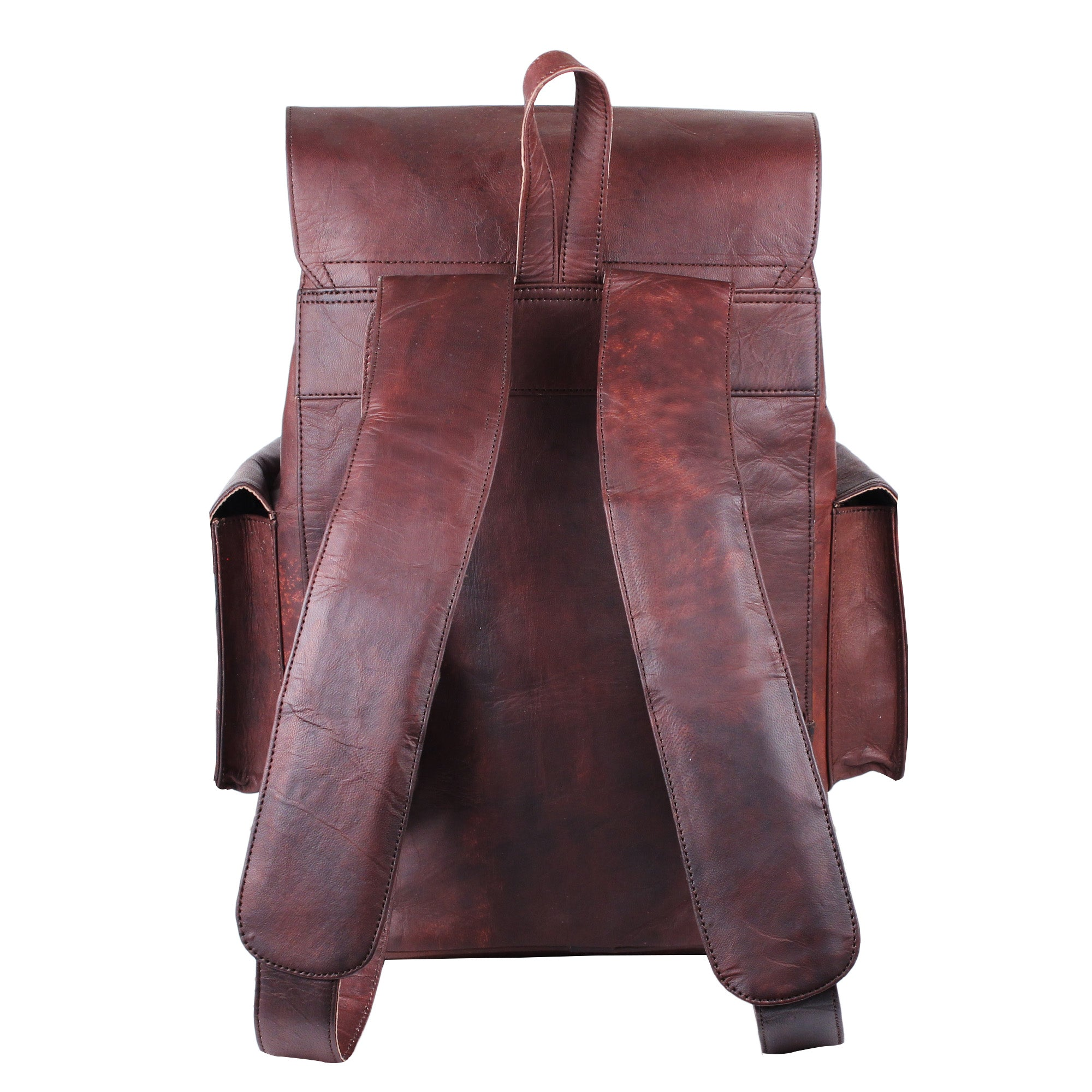 Brown Leather Backpack wit padded strap