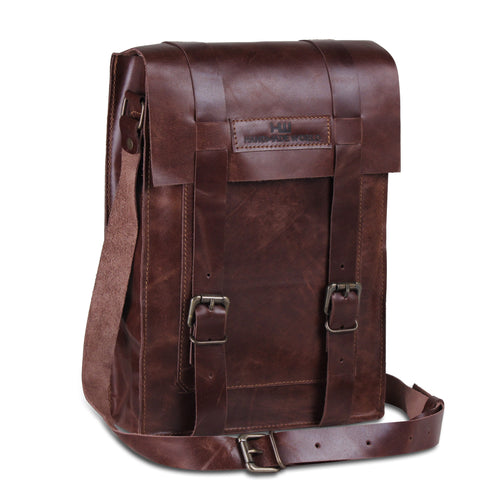 Full Grain Leather iPad Tablet Messenger Bag