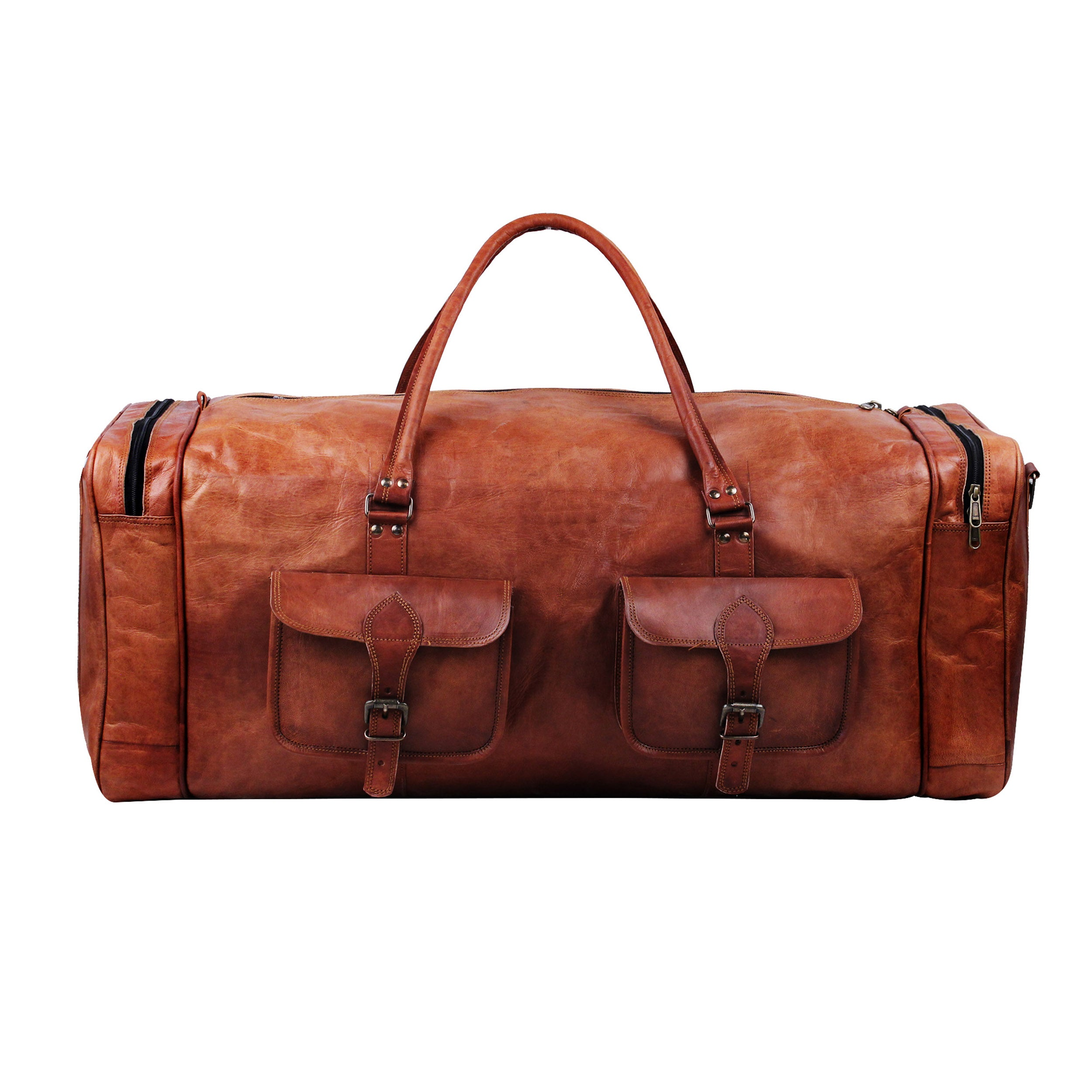 Large Full Grain Leather Square Duffle Bag with Top Handle
