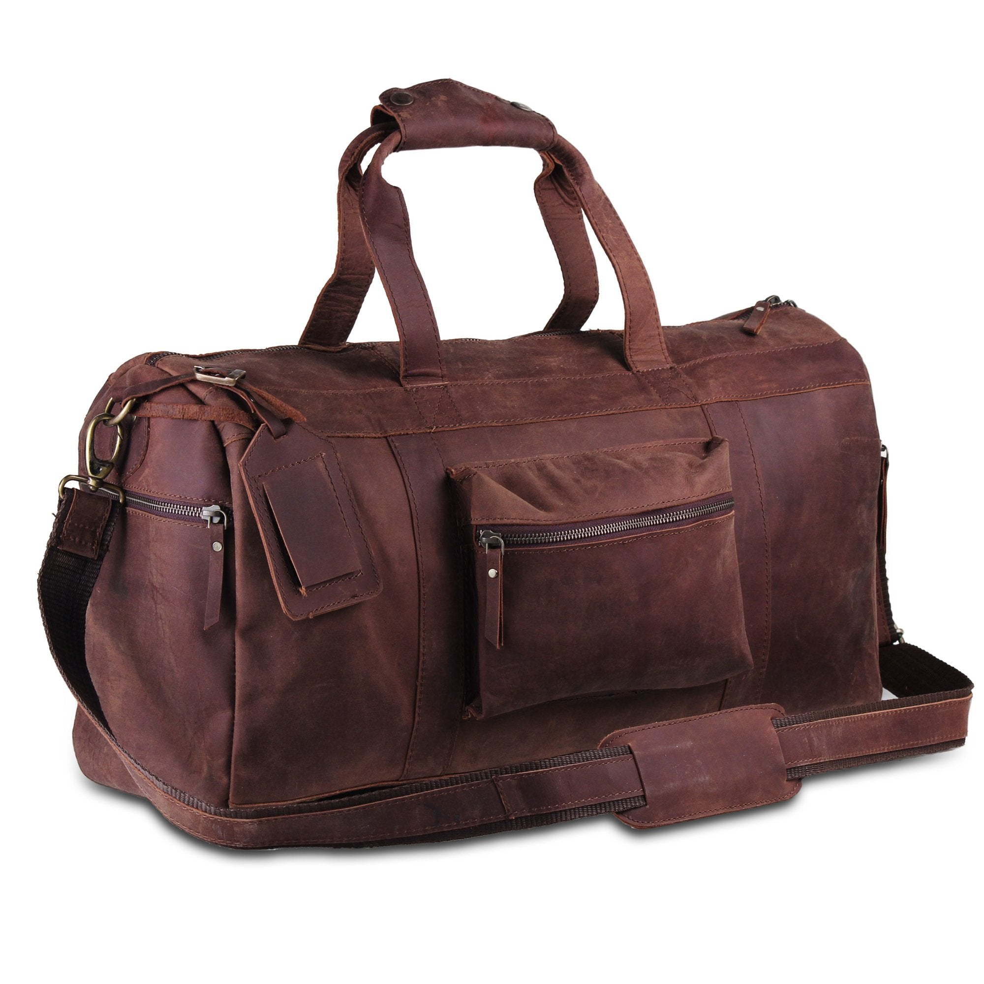 Genuine Full Grain Brown Leather Duffle Bag with Leather Name Tags