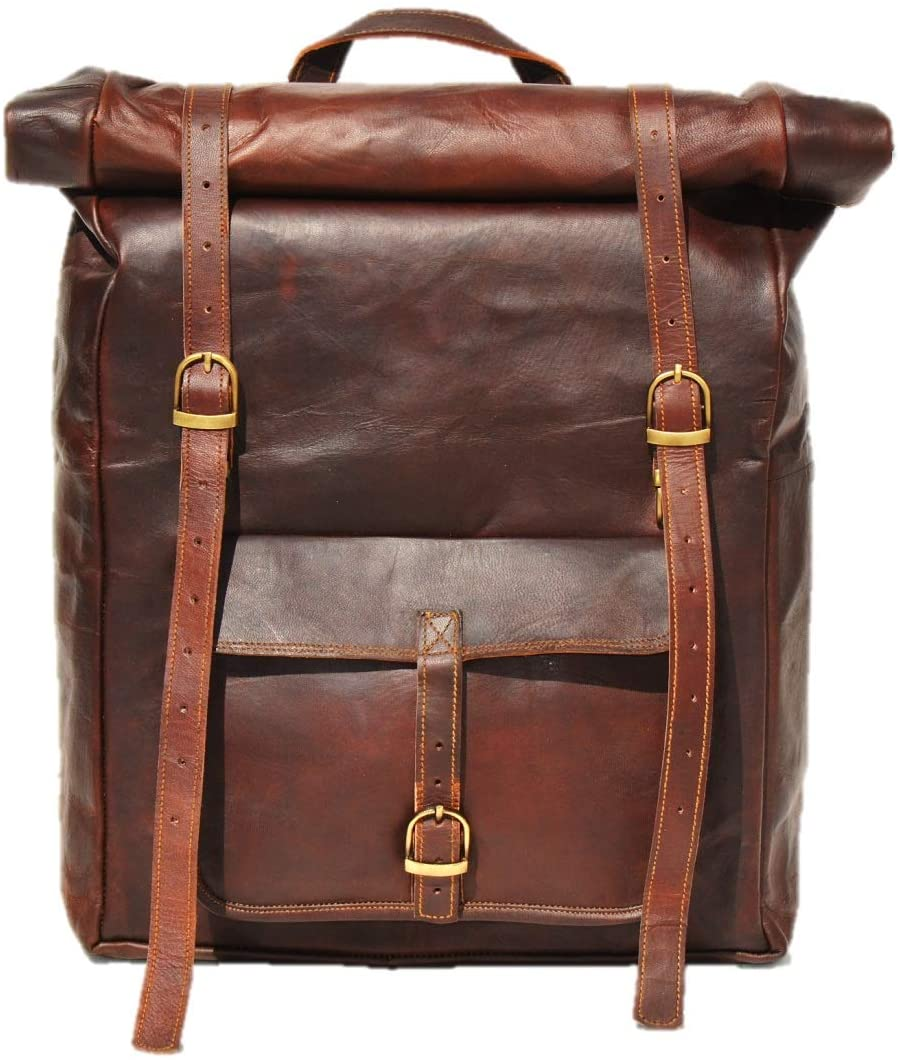 Leather Backpack Bag with Top Handle and adjustable strap