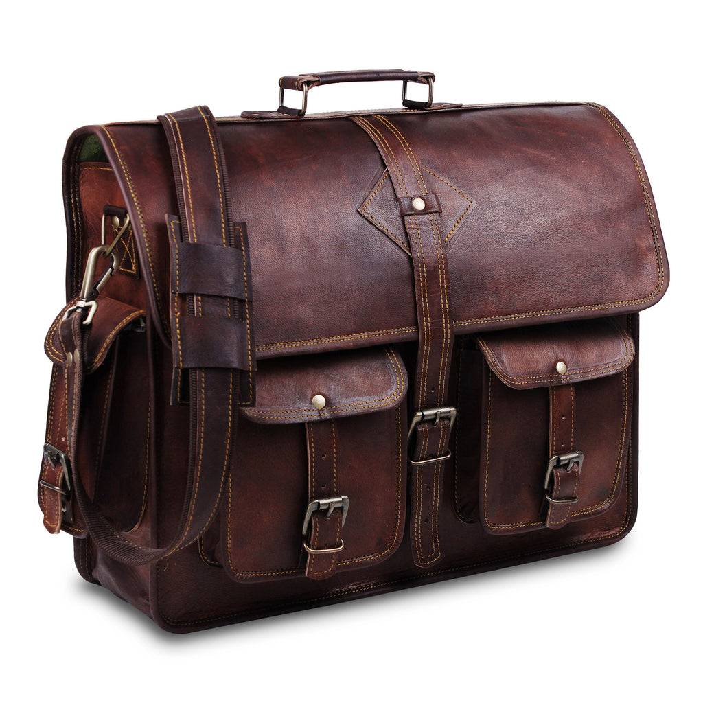 Genuine Full Grain Brown Leather Messenger Briefcase Bag with Adjustable Strap