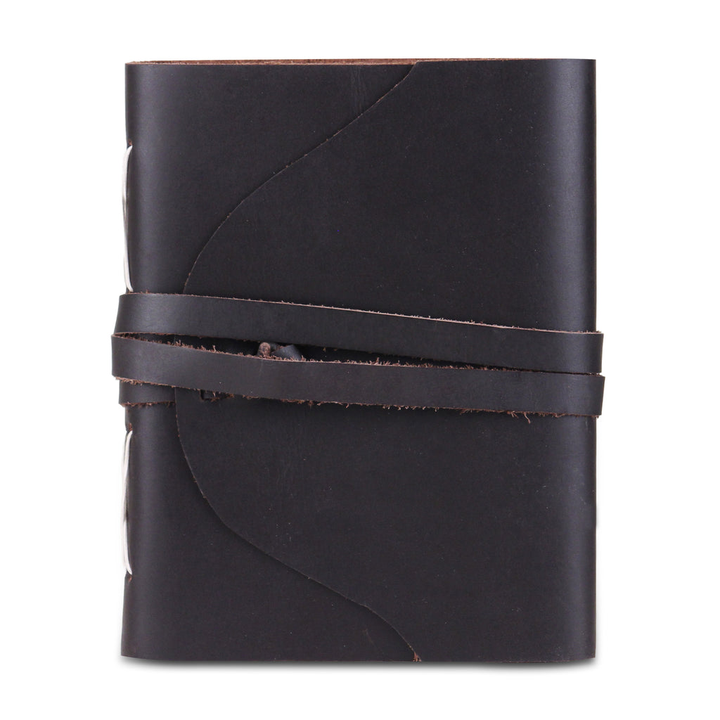 Leather Plain Textured Note Journal Book- Black