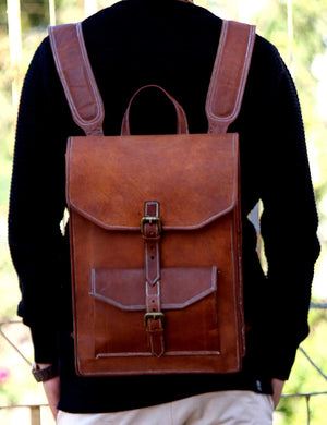 Leather Messenger Bag with Padded Strap