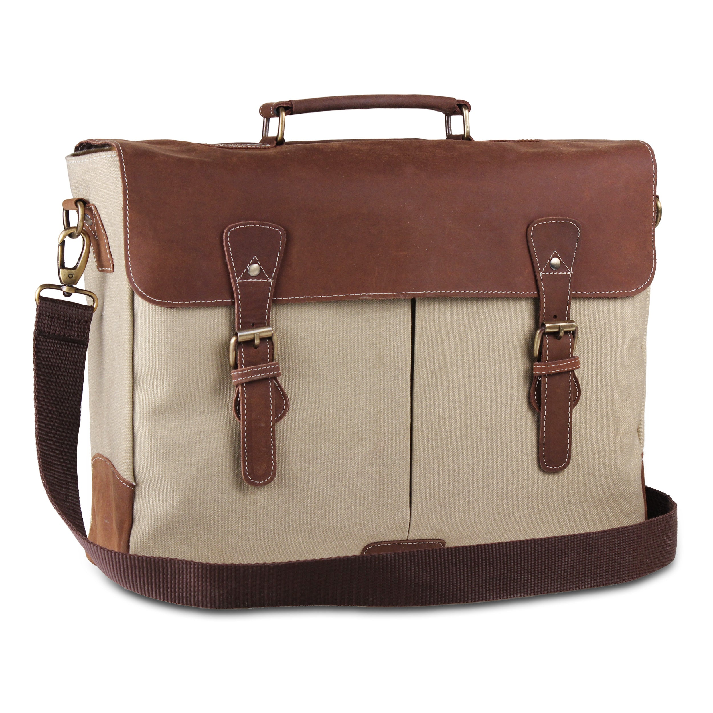 Black Large Leather Canvas Messenger Briefcase Bag Cream